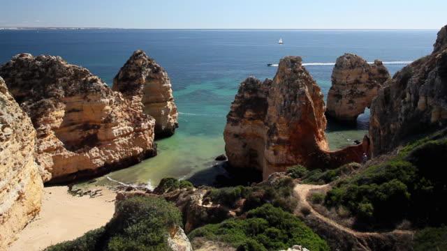 ws ha rocky coastline at ponta da piedade / lagos, algarve, portugal - algarve stock videos & royalty-free footage