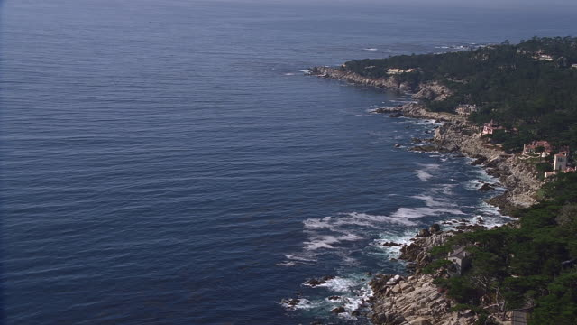 aerial rocky coastline / carmel, california - rocky coastline stock videos & royalty-free footage