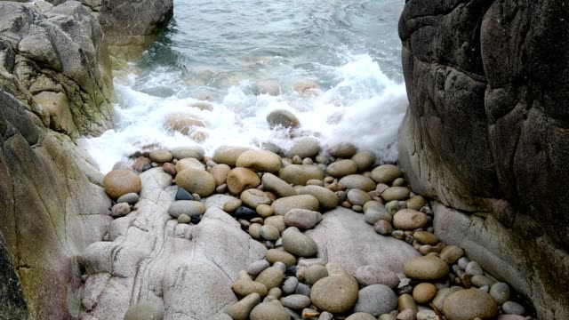 rocky cove with boulders, porth nanven, penzance, cornwall, england, united kingdom, europe - water's edge stock videos & royalty-free footage