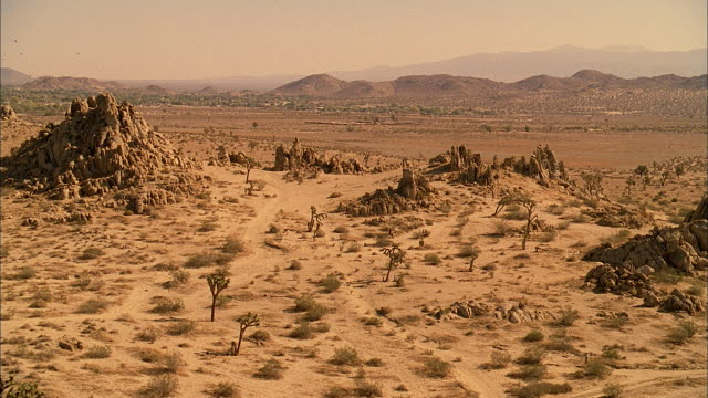 HA Rocky desert with sparse vegetation and distant mountains