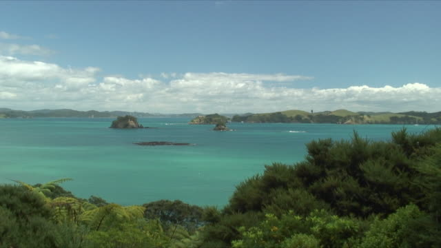 ms ws ha zi rocky island in turquoise sea surrounded by lush coast, bay of islands, new zealand - baia delle isole nuova zelanda video stock e b–roll