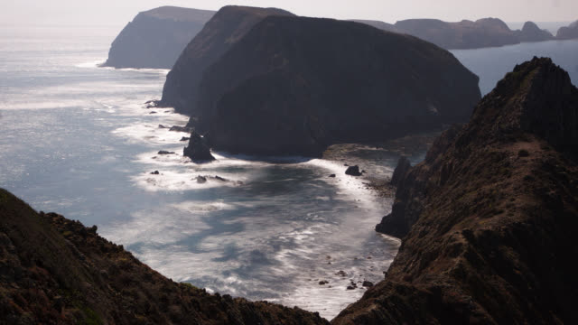 tl rocky islands and ocean, channel islands, california - channel islands california stock videos & royalty-free footage