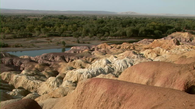 rocky landscape in xinjiang, china - rock strata stock videos & royalty-free footage
