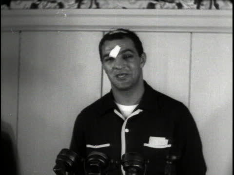 stockvideo's en b-roll-footage met rocky marciano talks about defeating world heayweight boxing champion jersey joe walcott to become the new world champion - new jersey