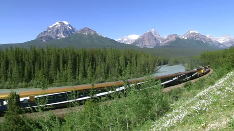 ws rocky mountaineer train passing near bow river at morants curve / banff nationalpark, alberta, canada - banff nationalpark stock-videos und b-roll-filmmaterial