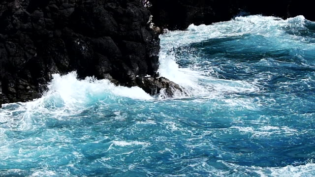 Rocky seascape beauty, slow motion