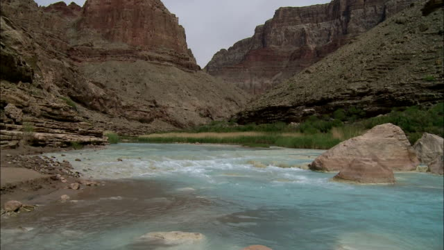 A rocky section of the Colorado River forms rapids in Arizona's Grand Canyon.