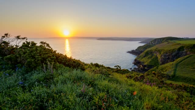 rocky shore at sunrise in spring, the rumps, wadebridge, cornwall, england, united kingdom, europe - 沿岸点の映像素材/bロール