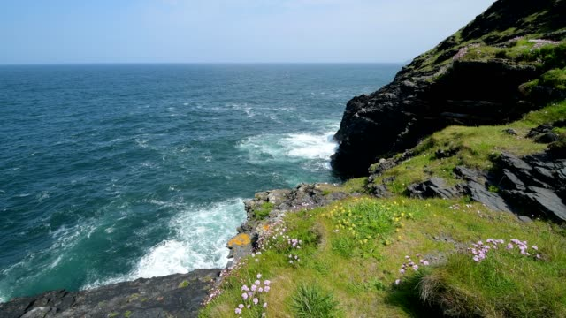 rocky shore in spring, boscastle, cornwall, england, united kingdom, europe - cliff stock videos & royalty-free footage