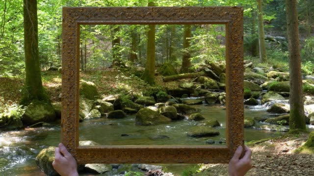 rocky stream captured in a picture frame cinemagraph - picture frame stock videos & royalty-free footage