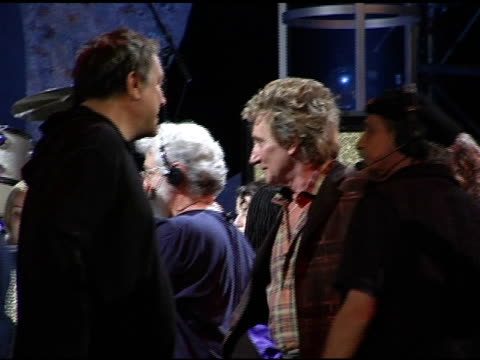 Rod Stewart on stage with dog Nipsey at the 2004 American Music Awards Day Two Rehearsals at the Shrine Auditorium in Los Angeles California on...