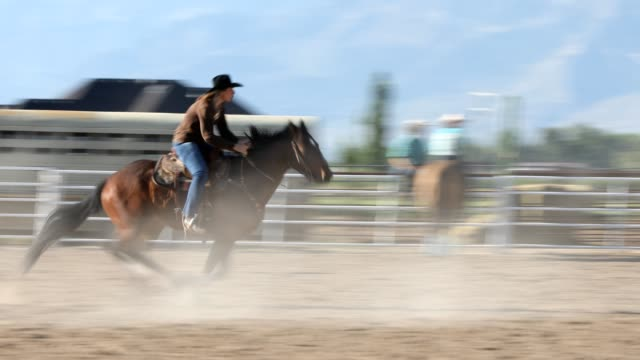 stockvideo's en b-roll-footage met rodeo barrel racing - recreatief paardrijden