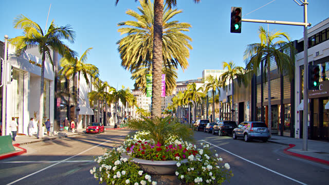 rodeo drive. los angeles. luxury shopping street. - beverly hills stock videos & royalty-free footage