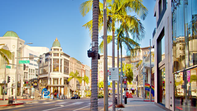 rodeo drive. los angeles. shopping street. - facade stock videos & royalty-free footage