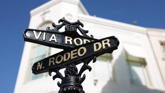 rodeo drive sign - beverly hills stock videos & royalty-free footage