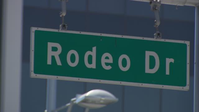 CU of Rodeo Drive street sign /Beverly Hills, California, United States