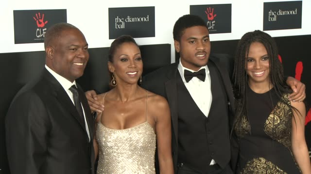 Rodney Peete Holly Robinson Peete Rodney Peete Jr and Ryan Elizabeth Peete at the 2nd Annual Diamond Ball at Barker Hangar on December 10 2015 in...