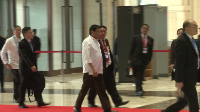 rodrigo duterte philippines president arrives at the association of southeast asian nations summit the laotian capital vientiane - association of southeast asian nations stock videos & royalty-free footage