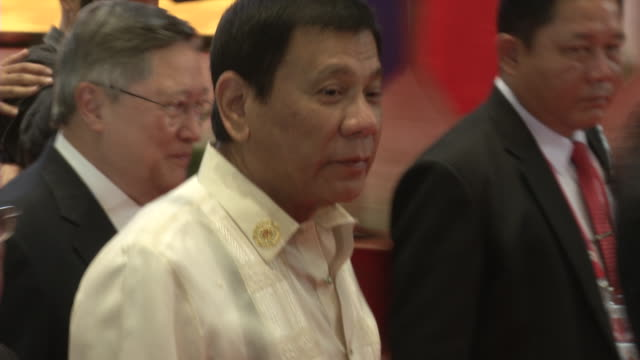 rodrigo duterte president of the philippines arrives at the association of southeast asian nations summit the laotian capital vientiane - association of southeast asian nations stock videos & royalty-free footage