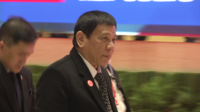 rodrigo duterte president of the philippines arrives for a meeting during the association of southeast asian nations summit the laotian capital... - association of southeast asian nations stock videos & royalty-free footage