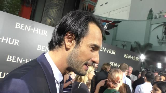 rodrigo santoro at the premiere of paramount pictures' benhur at tcl chinese theatre in celebrity sightings in los angeles - paramount pictures stock videos and b-roll footage
