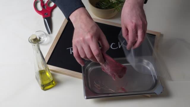 roebuck sous vide preparation - black olive stock videos & royalty-free footage