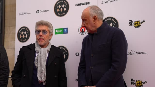 roger daltrey and pete townshend from the who at the founding stone unveiling for music walk of fame on november 19, 2019 in london, england - roger daltrey stock-videos und b-roll-filmmaterial