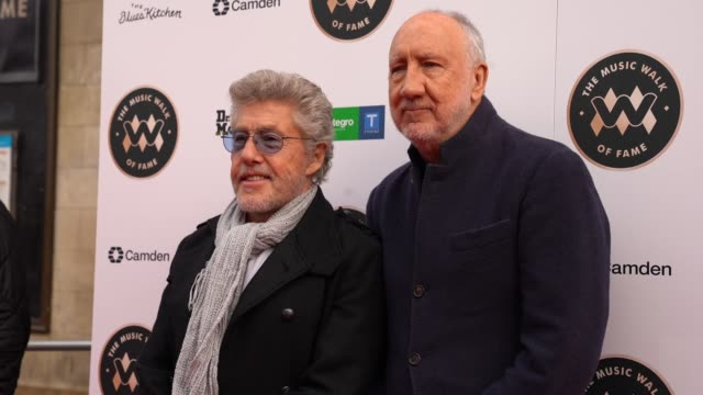 roger daltrey and pete townshend from the who at the founding stone unveiling for music walk of fame on november 19, 2019 in london, england. - roger daltrey stock-videos und b-roll-filmmaterial