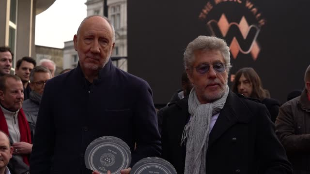 roger daltrey and pete townshend from the who at the founding stone unveiling for music walk of fame on november 19, 2019 in london, england. - roger daltrey stock videos & royalty-free footage
