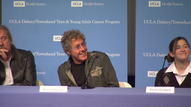 roger daltrey answers questions from the audience at the the ucla daltrey/townshend teen and young adult cancer program dedication at los angeles ca. - roger daltrey stock-videos und b-roll-filmmaterial