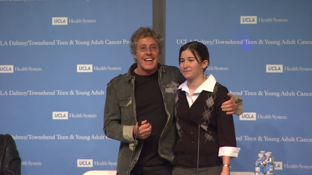 roger daltrey introduces sarah sterner at the the ucla daltrey/townshend teen and young adult cancer program dedication at los angeles ca. - roger daltrey stock videos & royalty-free footage