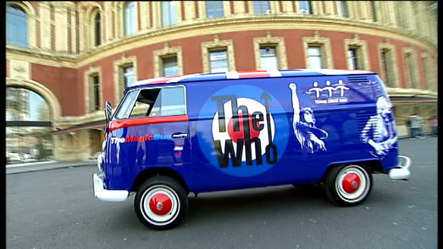 roger daltrey launches charity raffle forteenage cancer trust; general views customised vw van - roger daltrey stock videos & royalty-free footage