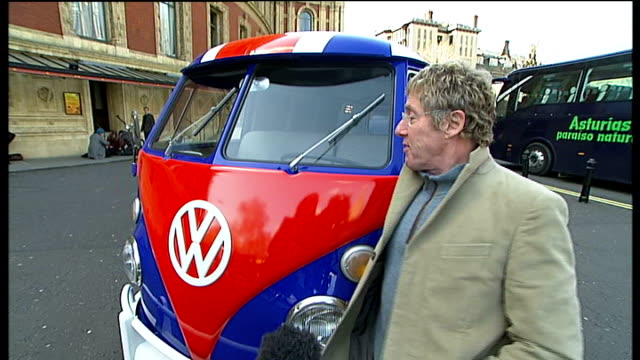 roger daltrey launches charity raffle forteenage cancer trust; roger daltrey interview sot - didn't like camper vans at the time, there were better... - roger daltrey stock-videos und b-roll-filmmaterial