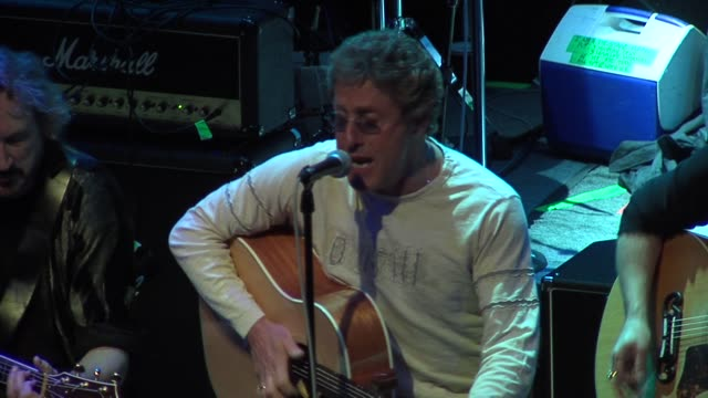roger daltrey of the who, jack blades of night ranger, and neal schon of journey at the rock n roll fantasy camp to benefit the teenage cancer trust... - roger daltrey stock videos & royalty-free footage