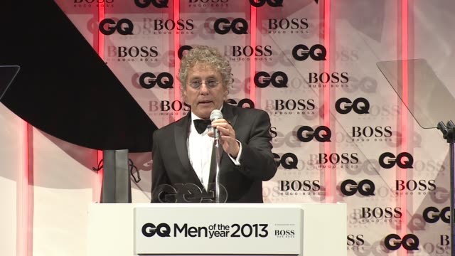 roger daltrey on receiving an award from gq at the gq men of the year awards in london, england, uk on 9/3/13. - roger daltrey stock videos & royalty-free footage
