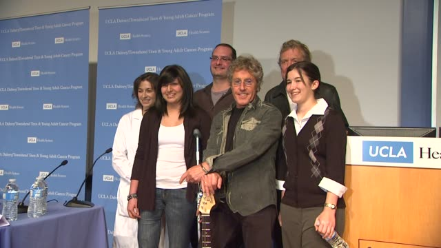 roger daltrey , sarah sterner rear: dr. jacqueline casillas , mike pena , robert plant at the the ucla daltrey/townshend teen and young adult cancer... - roger daltrey stock-videos und b-roll-filmmaterial