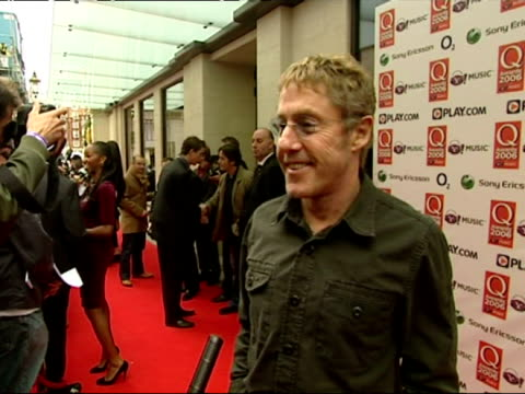 roger daltrey talks to press on arrival at the q music awards - roger daltrey stock videos & royalty-free footage