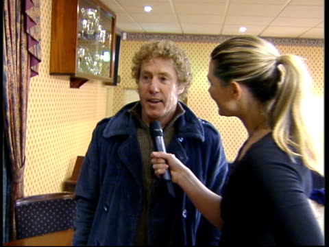 roger daltry 60th birthday; itn roger daltrey towards down stairs & interviewed sot - jokes about 'goings on' in club toilets tx 3.3.2004/london... - roger daltrey stock videos & royalty-free footage