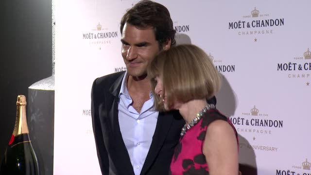Roger Federer and Anna Wintour at Moet Chandon Celebrates Its 270th Anniversary with New Global Ambassador International Tennis Champion Roger...