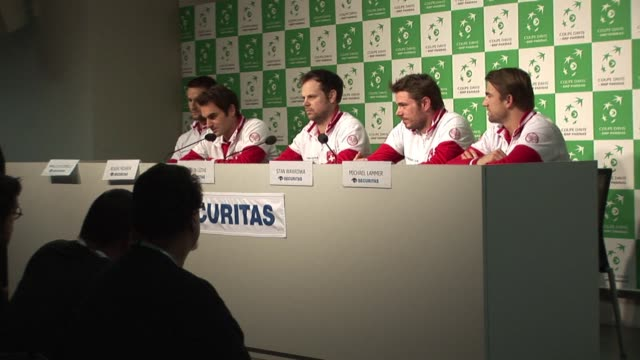 roger federer said tuesday he hoped he would be able to play in the davis cup final against france on friday despite the crippling back injury he... - davis cup stock videos & royalty-free footage