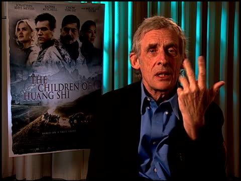 roger spoottiswoode on why he was so fascinated by the story at the 'the children of huang shi' press junket at the four seasons hotel in beverly... - four seasons hotel stock videos & royalty-free footage