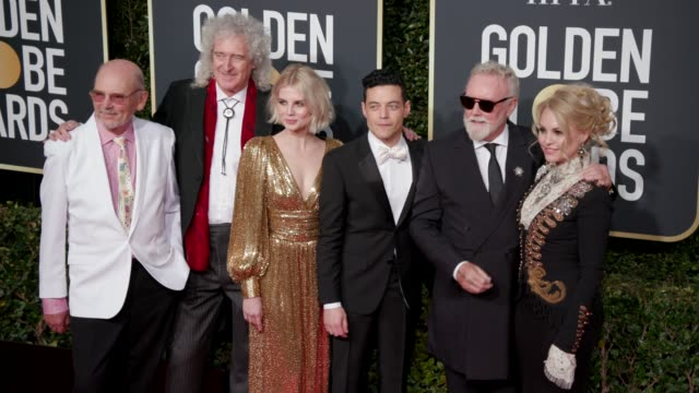 stockvideo's en b-roll-footage met roger taylor brian may rami malek and lucy boynton at 76th annual golden globe awards arrivals in los angeles ca 1/6/19 4k footage - golden globe awards