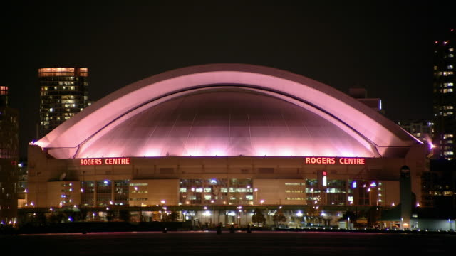 t/l, ms, rogers centre dome at night, toronto, ontario, canada - toronto stock videos & royalty-free footage