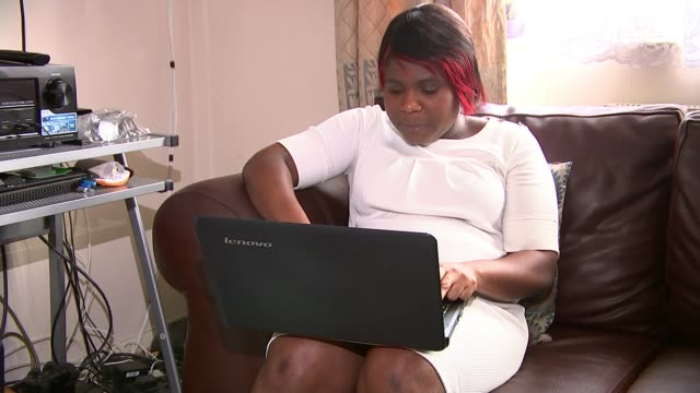 rogue landlord forced to wear electronic tag after campaign of harassment against tenant; england: london: int various shots of angela agyemang using... - tenant stock videos & royalty-free footage