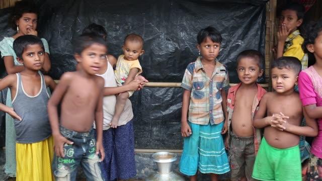 Rohingya children seen inside refugee camp in Cox's Bazar Bangladesh on August 04 2018