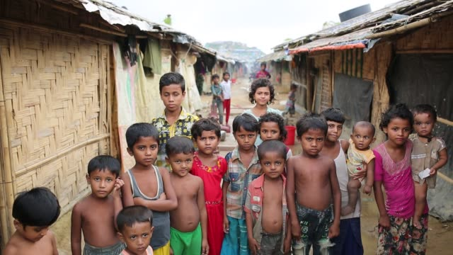 rohingya children seen inside refugee camp in cox's bazar , bangladesh on august 04, 2018. - rohingya culture stock videos & royalty-free footage