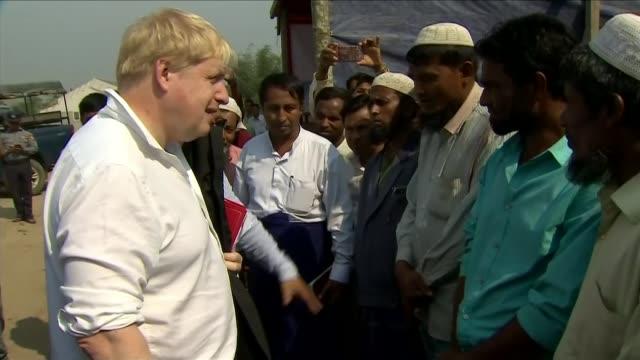 boris johnson accuses myanmar of industrial ethnic cleansing bangladesh cox's bazar refugee camp various shots boris johnson talking to rohingya... - cox's bazar stock videos & royalty-free footage