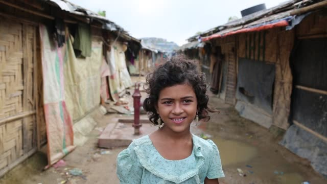A rohingya girl smile inside refugee camp in Cox's Bazar Bangladesh on August 04 2018