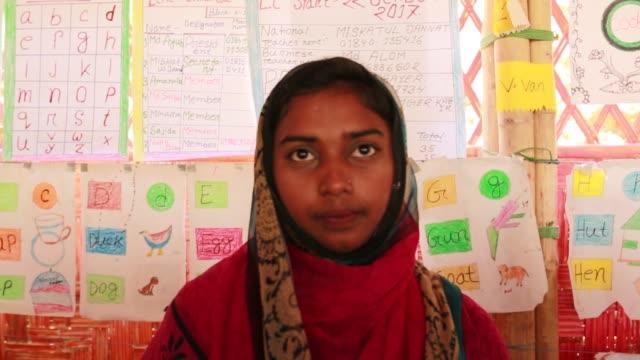 COX's BAZAR BANGLADESH MAY 01 Rohingya learning english and Myanmar language inside a school at refugee camp at Cox's Bazar Bangladesh on May 01 2018...
