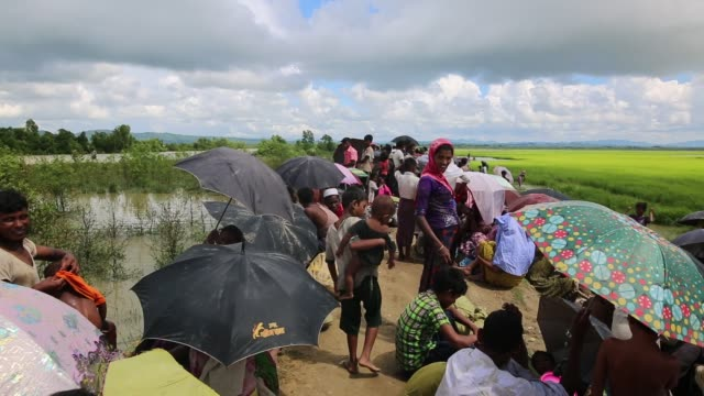 rohingya muslims, fled from ongoing military operations in myanmar's rakhine state make their way through muddy water after crossing the... - 水の形態点の映像素材/bロール